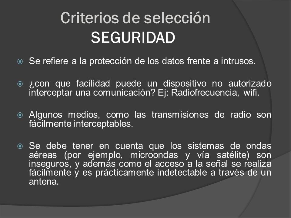 Criterios de selección SEGURIDAD