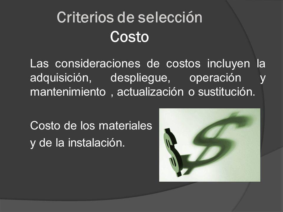 Criterios de selección Costo