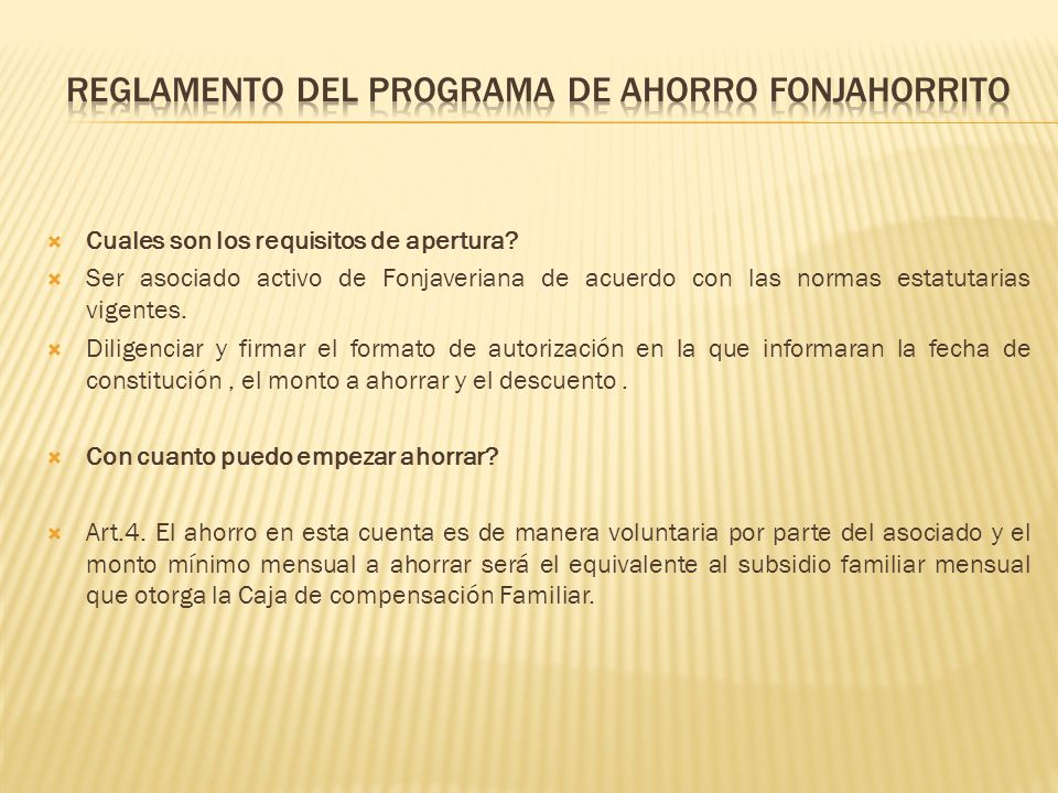 REGLAMENTO Del PROGRAMA DE AHORRO FONJAHORRITO