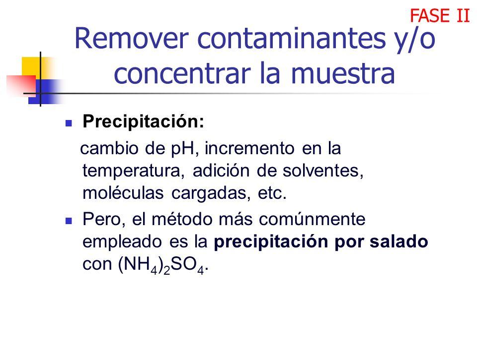 Remover contaminantes y/o concentrar la muestra