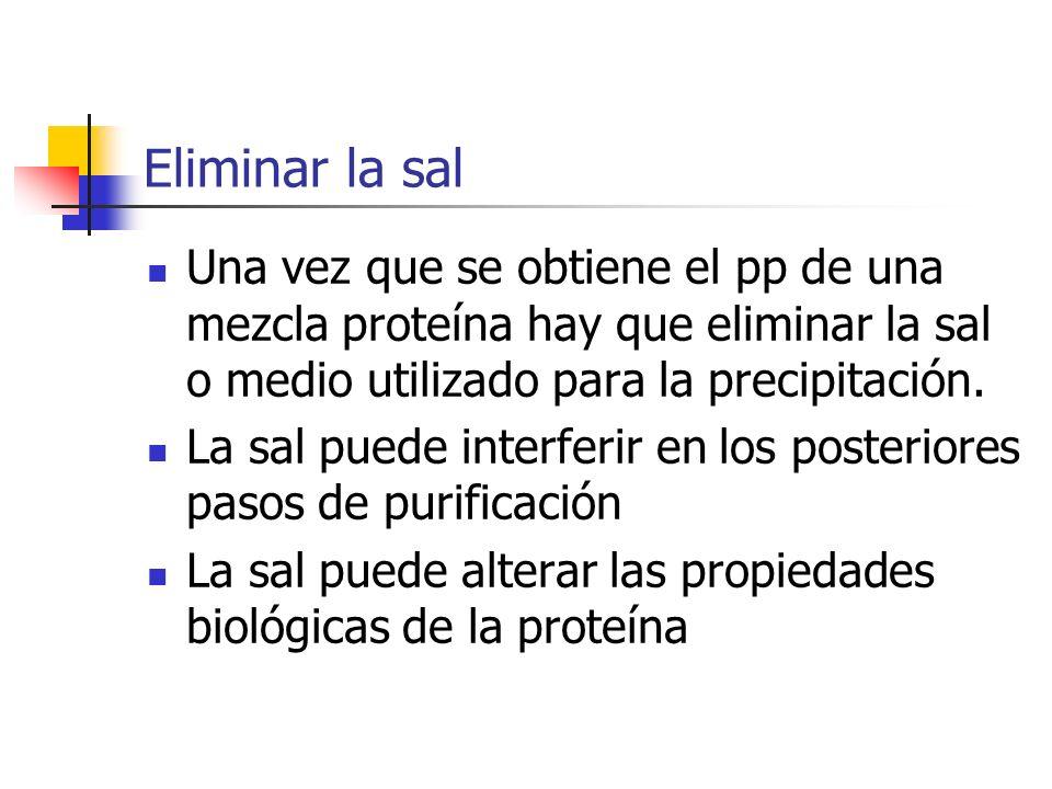 Eliminar la sal Una vez que se obtiene el pp de una mezcla proteína hay que eliminar la sal o medio utilizado para la precipitación.