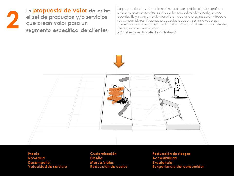 2 La propuesta de valor describe el set de productos y/o servicios que crean valor para un segmento específico de clientes.