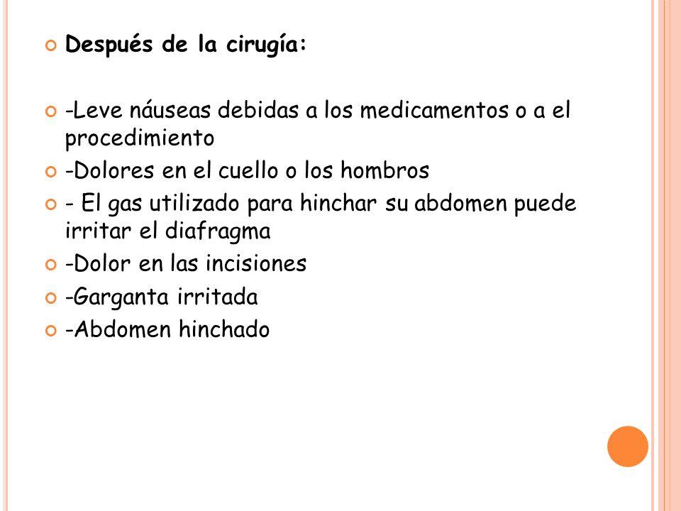 Después de la cirugía: -Leve náuseas debidas a los medicamentos o a el procedimiento. -Dolores en el cuello o los hombros.