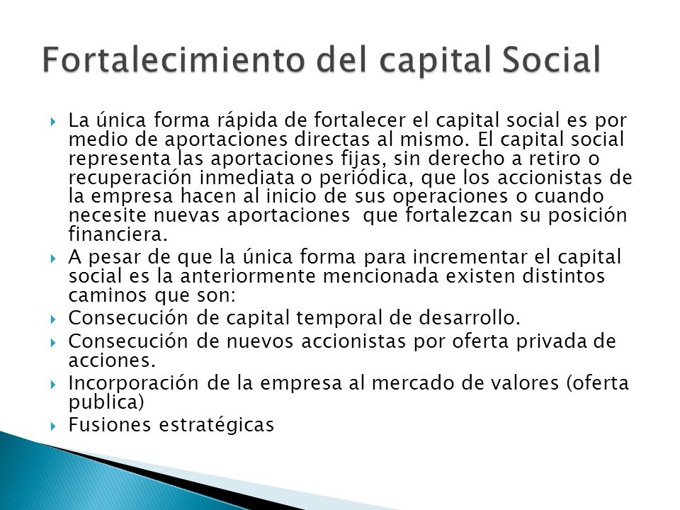 Fortalecimiento del capital Social