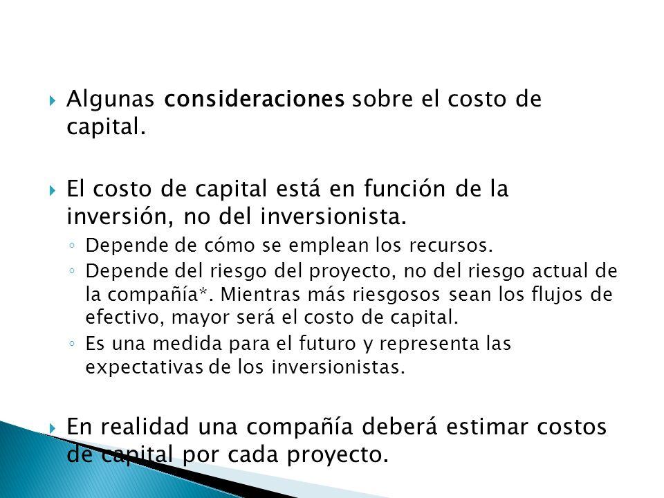 Algunas consideraciones sobre el costo de capital.