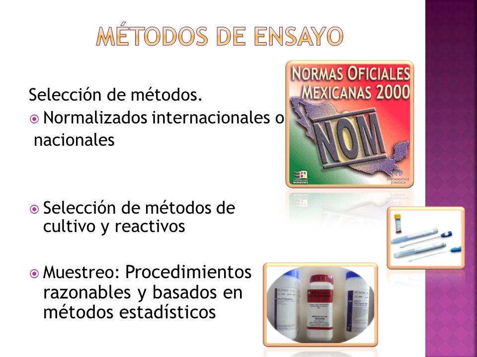 Métodos de ensayo Selección de métodos. Normalizados internacionales o
