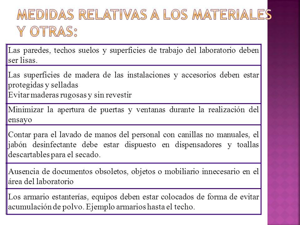 Medidas relativas a los materiales y otras: