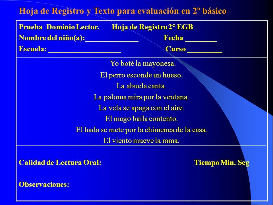 Hoja de Registro y Texto para evaluación en 2º básico
