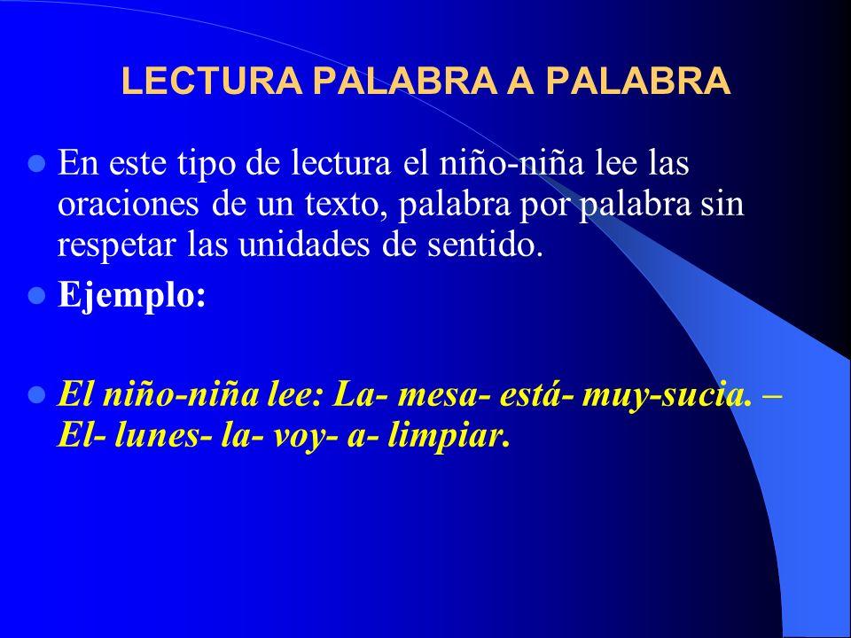 LECTURA PALABRA A PALABRA