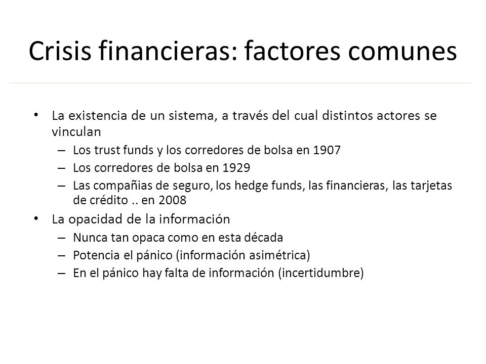 Crisis financieras: factores comunes