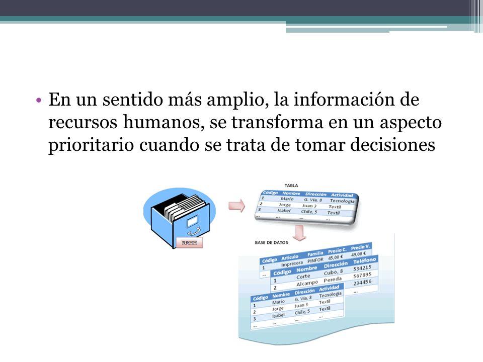 En un sentido más amplio, la información de recursos humanos, se transforma en un aspecto prioritario cuando se trata de tomar decisiones