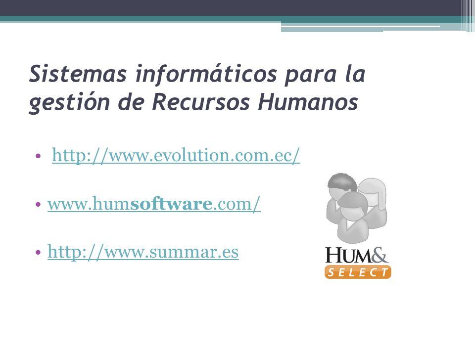 Sistemas informáticos para la gestión de Recursos Humanos