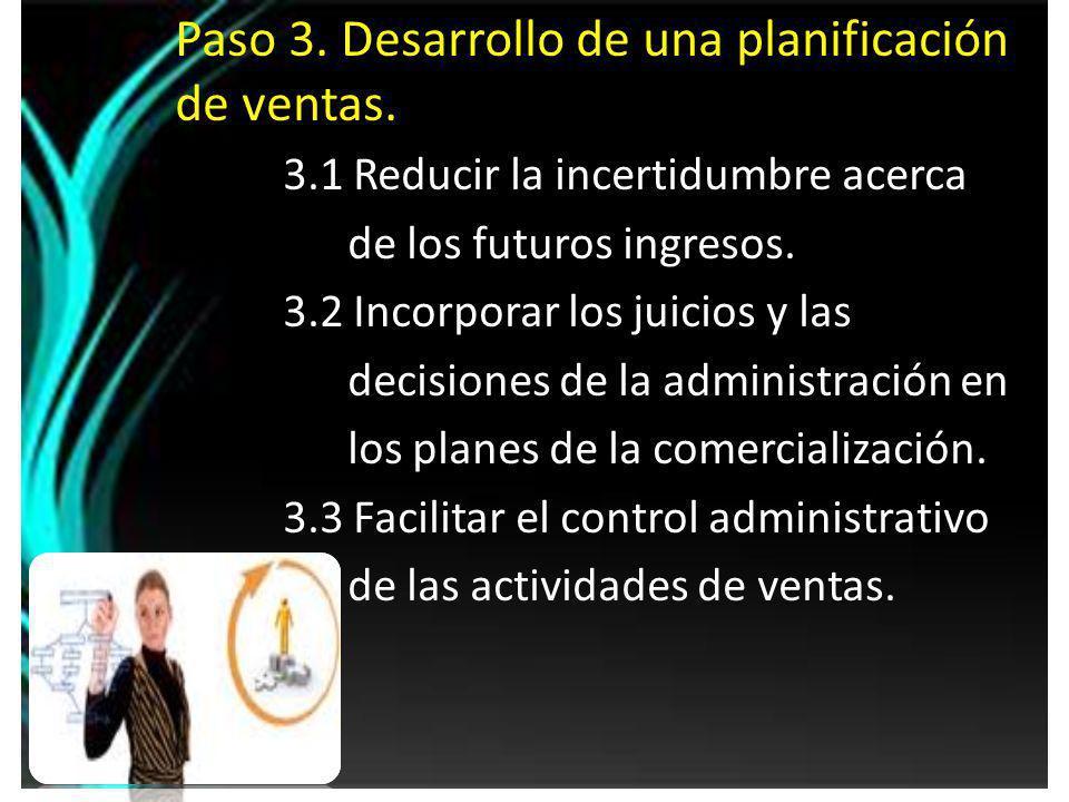 Paso 3. Desarrollo de una planificación de ventas.