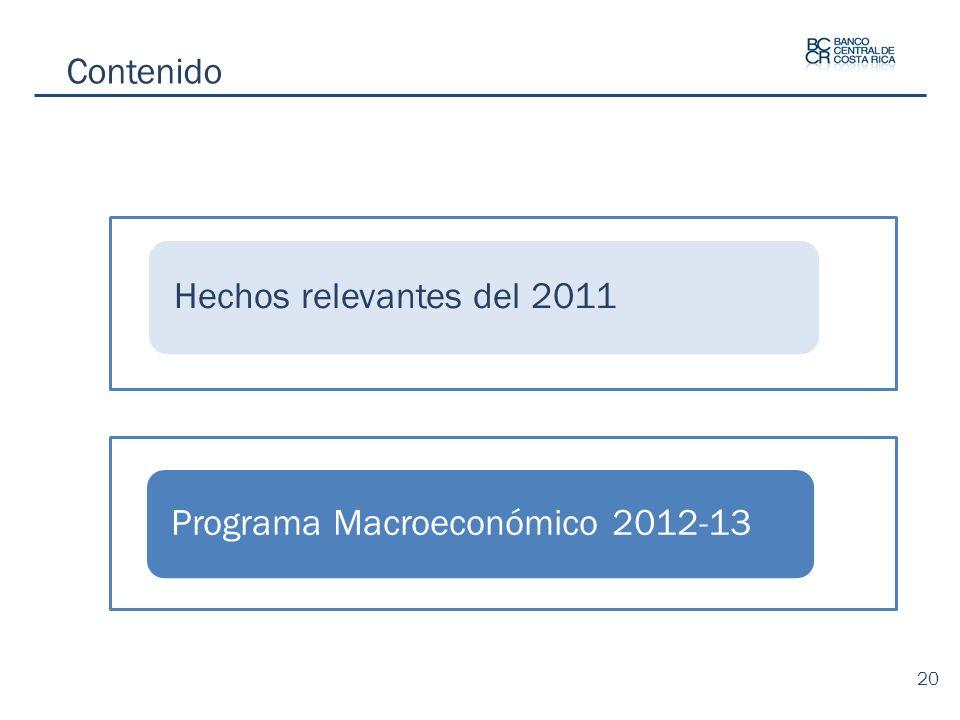 Contenido Hechos relevantes del 2011 Programa Macroeconómico 2012-13