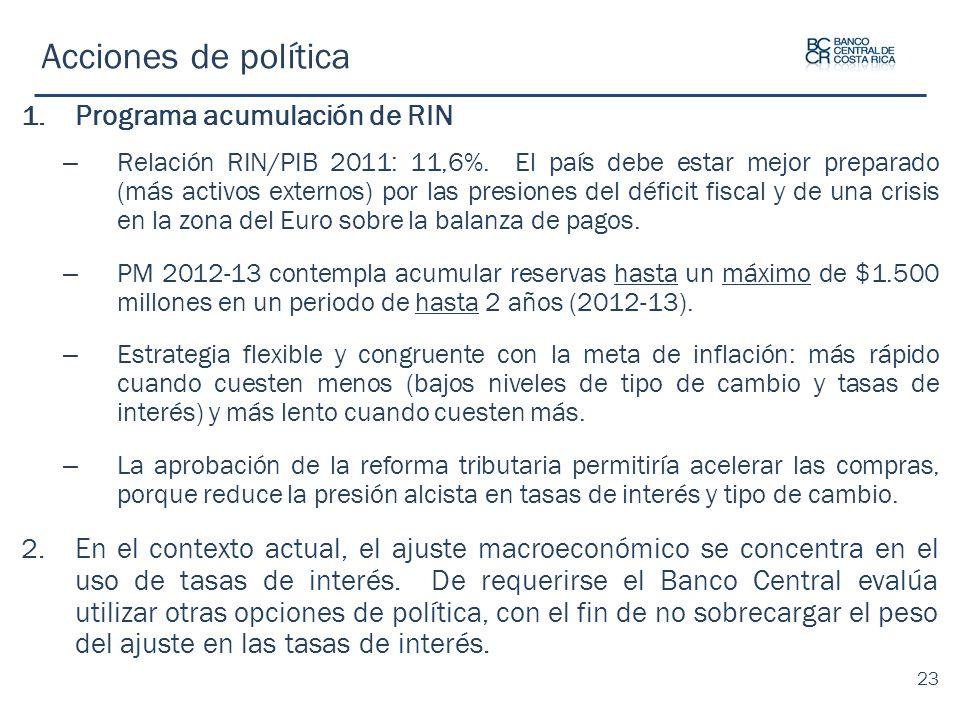 Acciones de política Programa acumulación de RIN