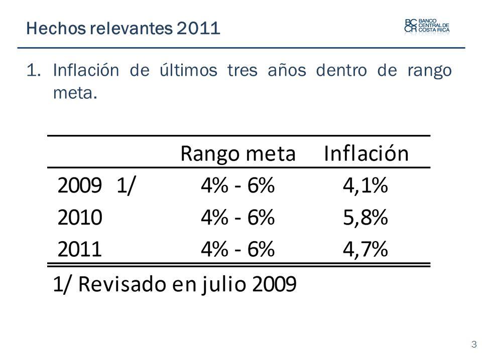 Inflación de últimos tres años dentro de rango meta.