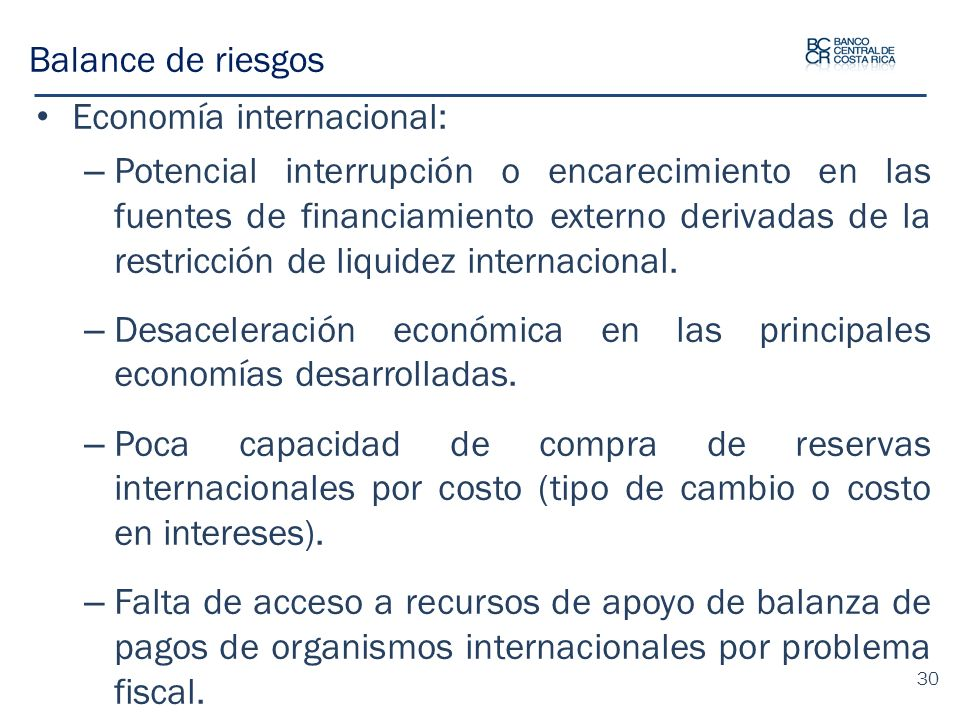 Balance de riesgos Economía internacional: