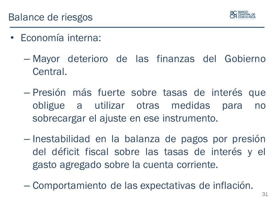 Balance de riesgos Economía interna: Mayor deterioro de las finanzas del Gobierno Central.