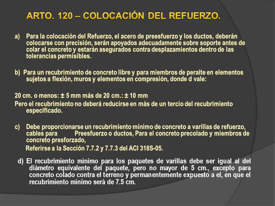 ARTO. 120 – COLOCACIÓN DEL REFUERZO.