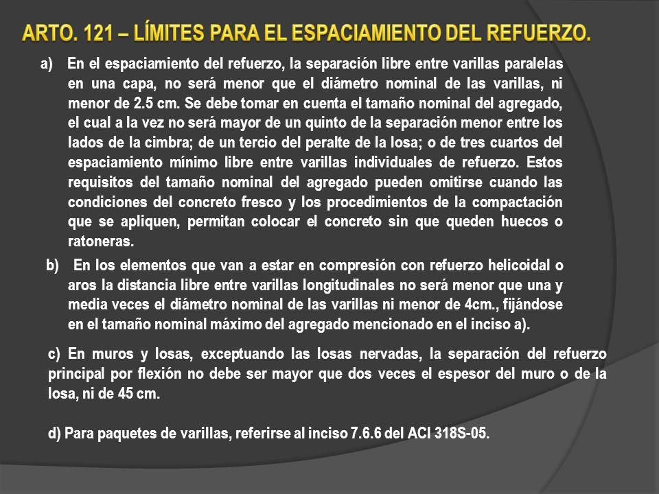 ARTO. 121 – LÍMITES PARA EL ESPACIAMIENTO DEL REFUERZO.