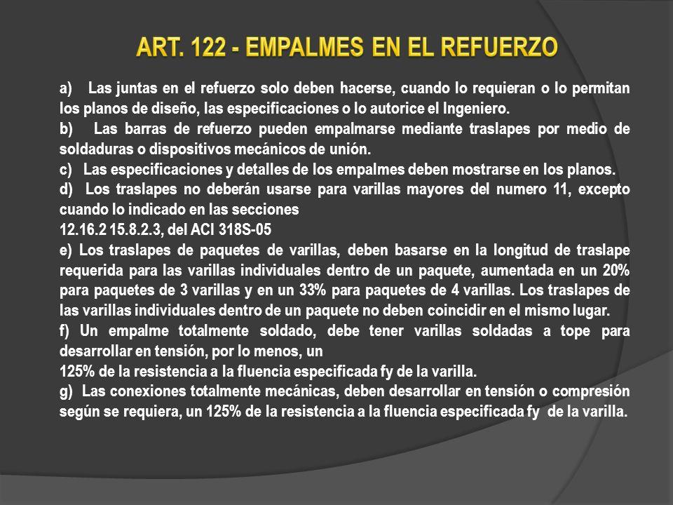 ART. 122 - EMPALMES EN EL REFUERZO