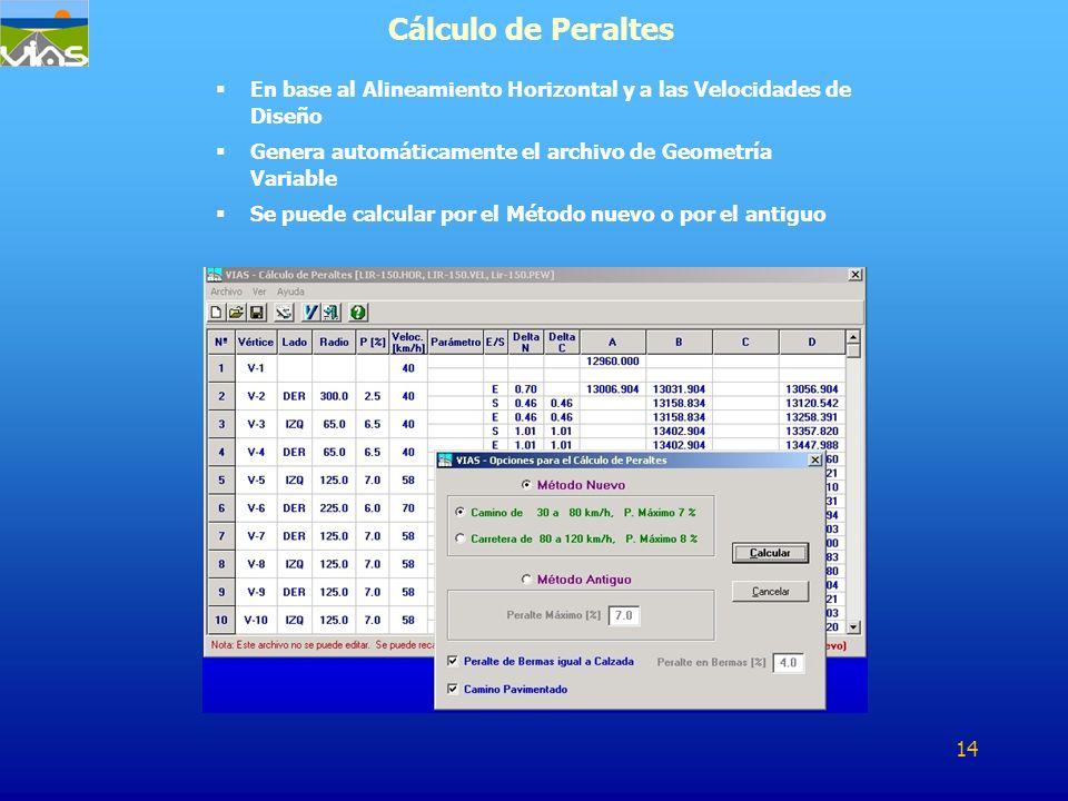 Cálculo de Peraltes En base al Alineamiento Horizontal y a las Velocidades de Diseño. Genera automáticamente el archivo de Geometría Variable.