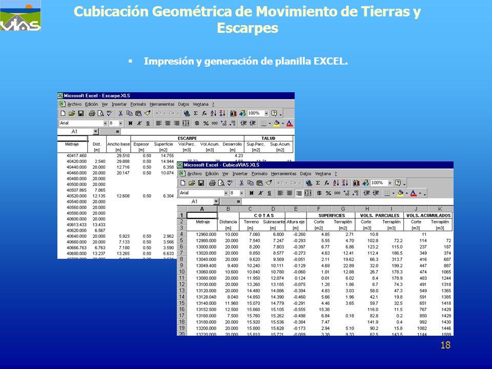 Cubicación Geométrica de Movimiento de Tierras y Escarpes