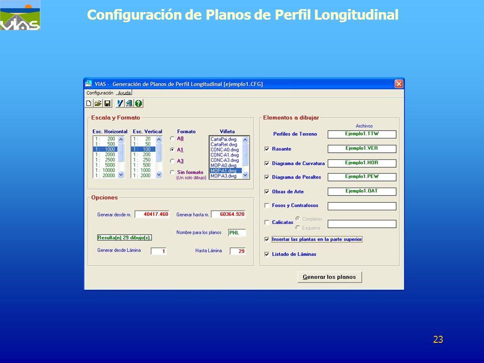 Configuración de Planos de Perfil Longitudinal