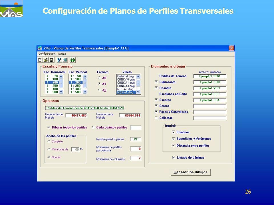 Configuración de Planos de Perfiles Transversales