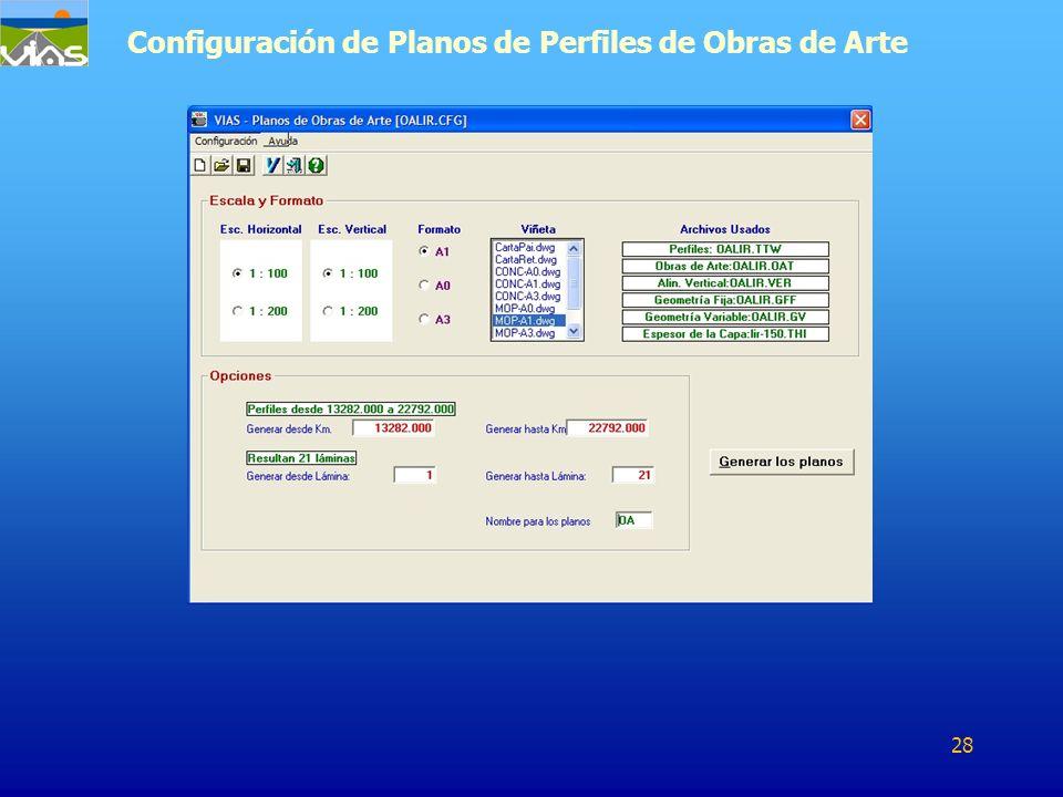 Configuración de Planos de Perfiles de Obras de Arte