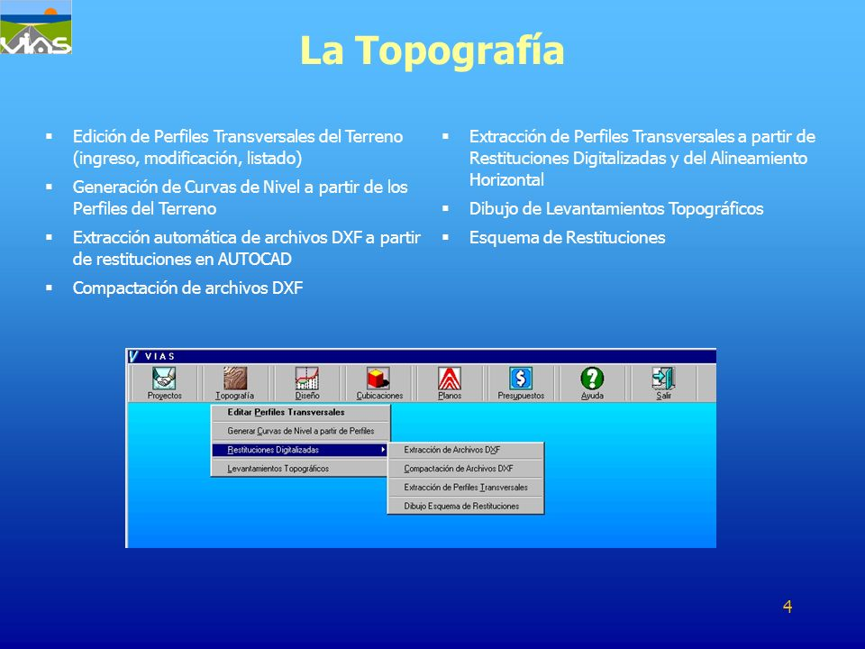 La Topografía Edición de Perfiles Transversales del Terreno (ingreso, modificación, listado)