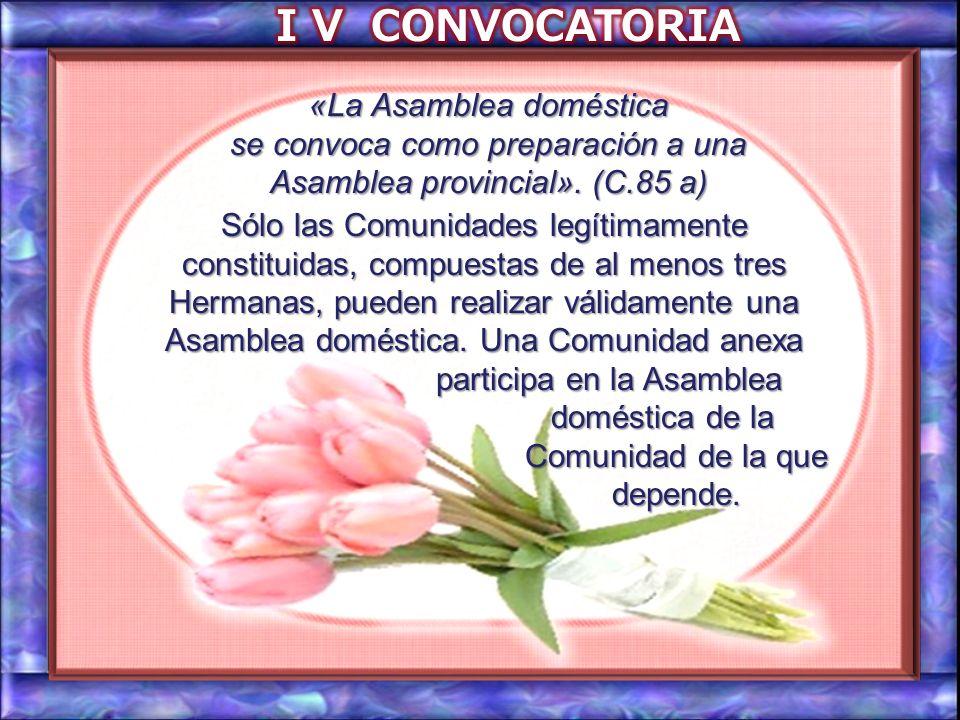 I V CONVOCATORIA «La Asamblea doméstica se convoca como preparación a una Asamblea provincial». (C.85 a)