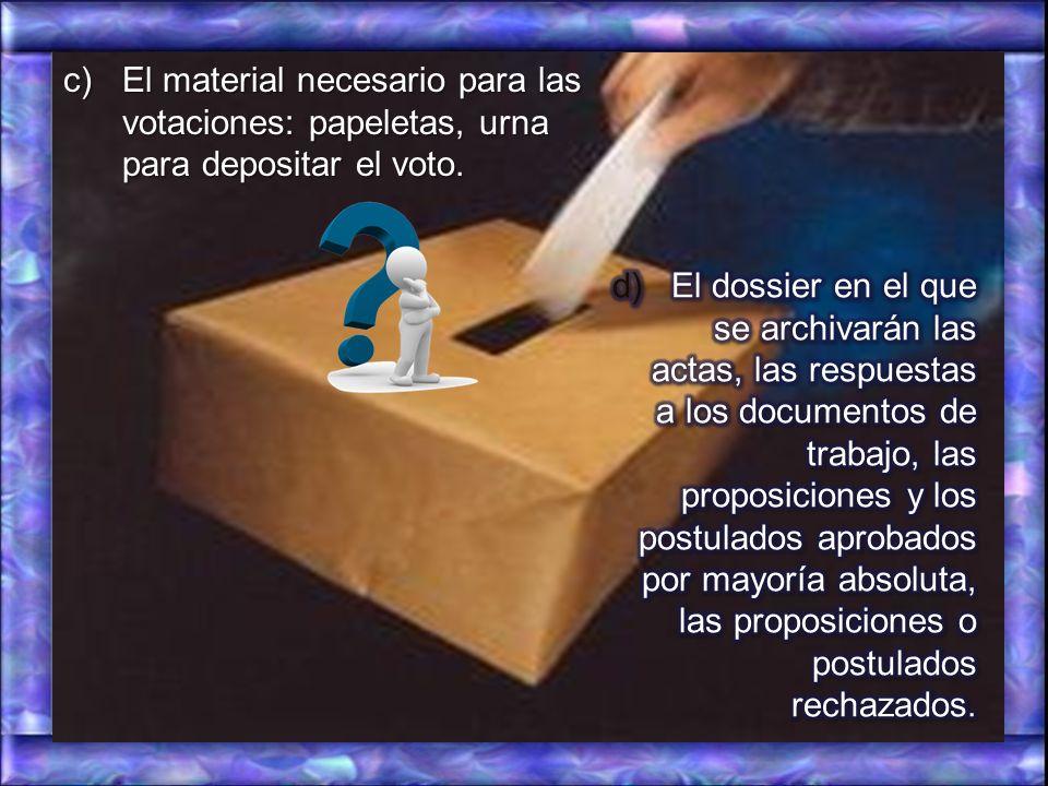 El material necesario para las votaciones: papeletas, urna para depositar el voto.