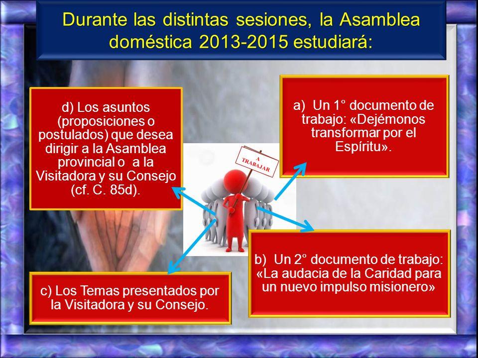 c) Los Temas presentados por la Visitadora y su Consejo.