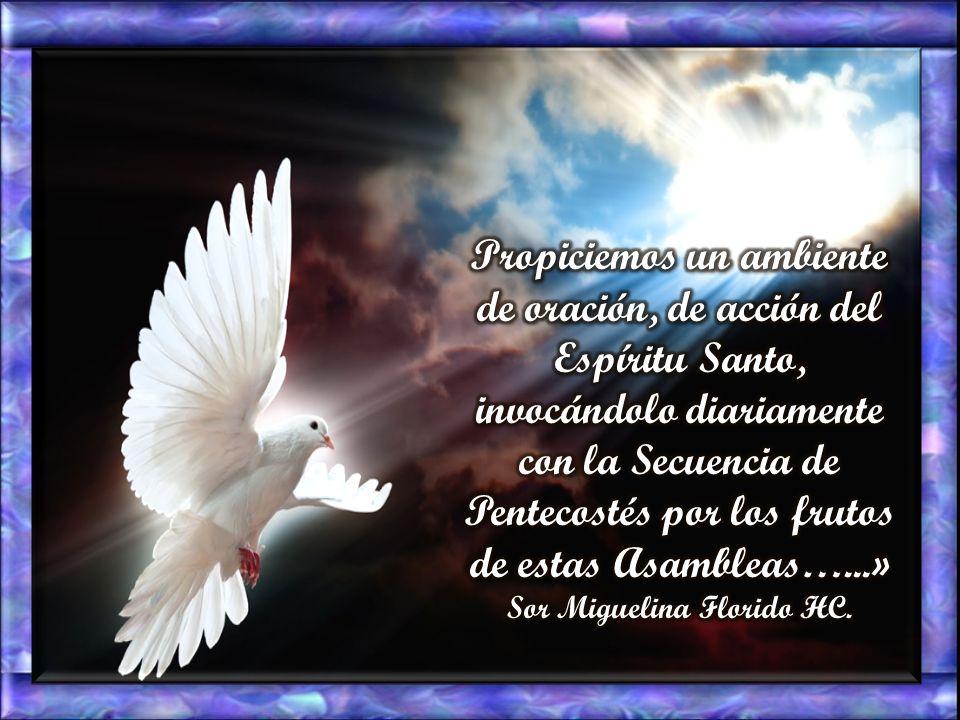 Propiciemos un ambiente de oración, de acción del Espíritu Santo, invocándolo diariamente con la Secuencia de Pentecostés por los frutos de estas Asambleas…...» Sor Miguelina Florido HC.
