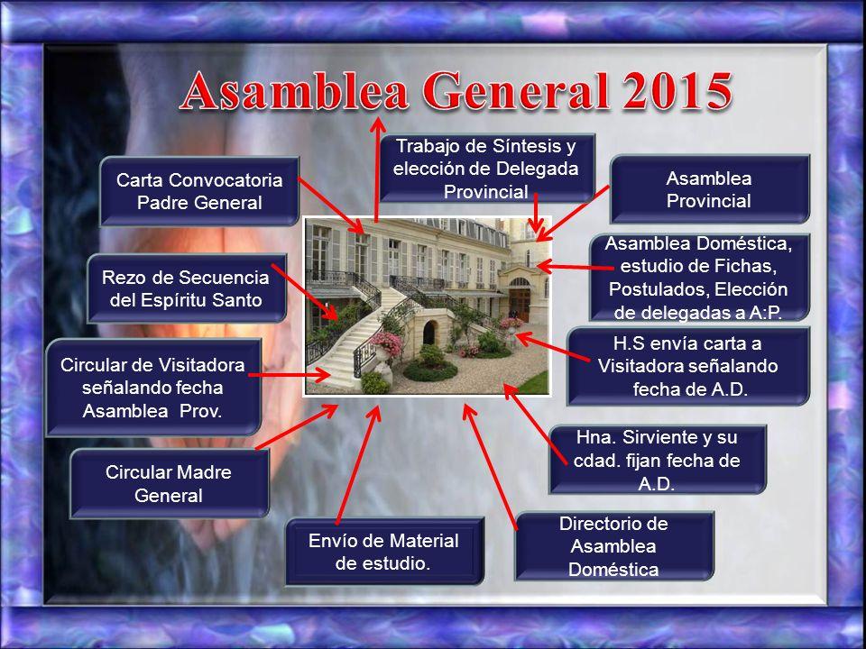 Asamblea General 2015 Trabajo de Síntesis y elección de Delegada Provincial. Carta Convocatoria Padre General.