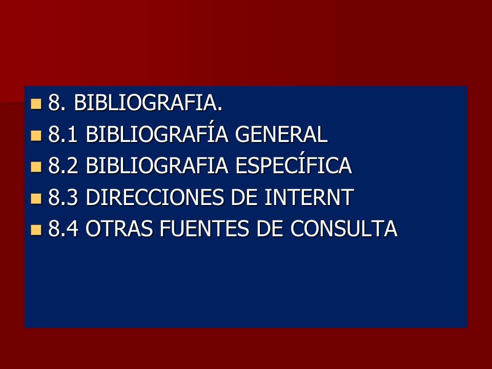 8. BIBLIOGRAFIA. 8.1 BIBLIOGRAFÍA GENERAL. 8.2 BIBLIOGRAFIA ESPECÍFICA. 8.3 DIRECCIONES DE INTERNT.