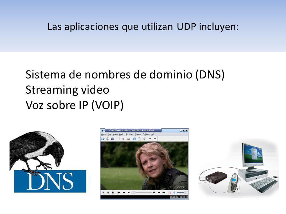 Las aplicaciones que utilizan UDP incluyen: