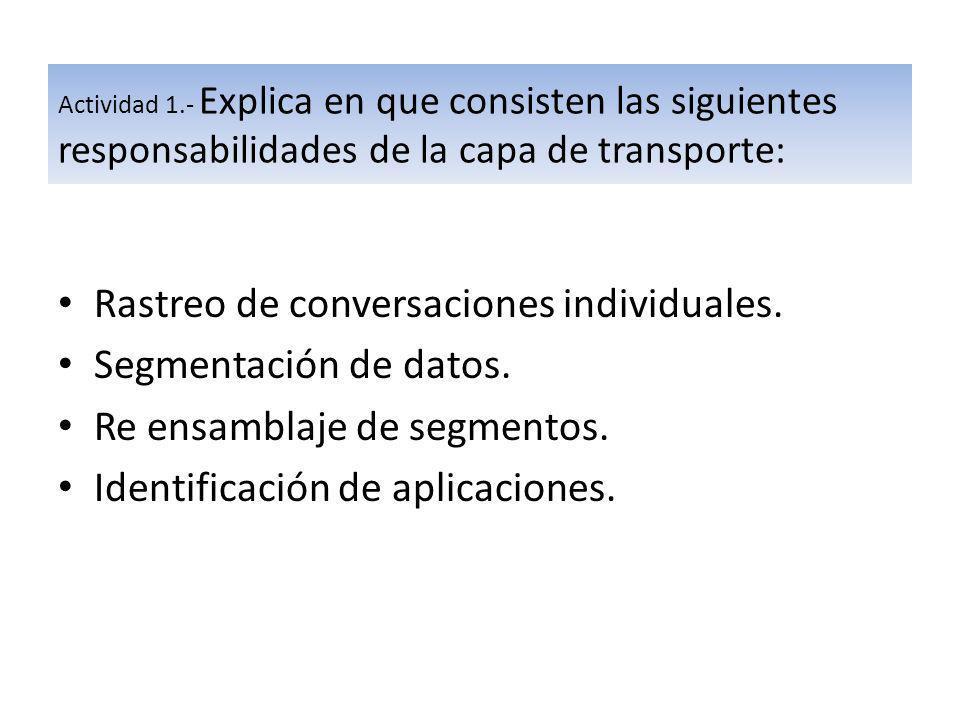Rastreo de conversaciones individuales. Segmentación de datos.