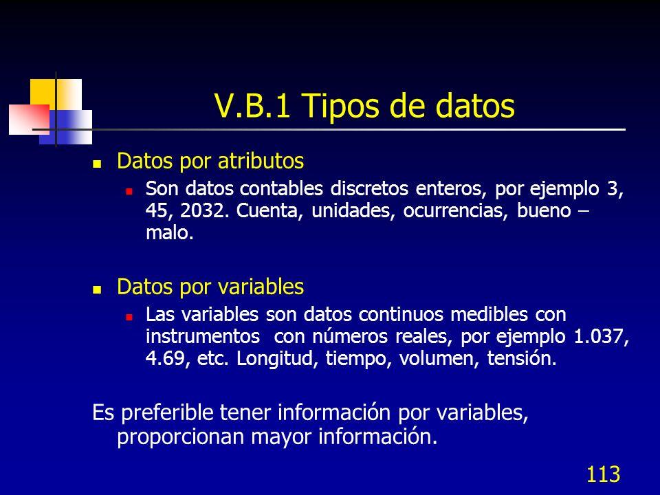 V.B.1 Tipos de datos Datos por atributos Datos por variables