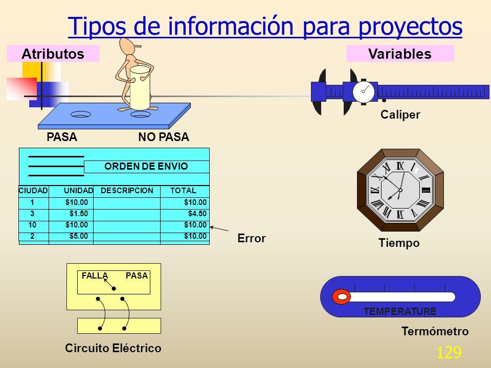 Tipos de información para proyectos