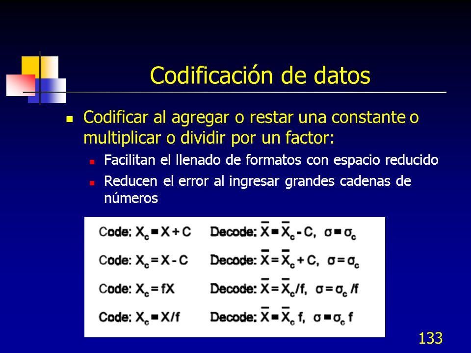 Codificación de datos Codificar al agregar o restar una constante o multiplicar o dividir por un factor: