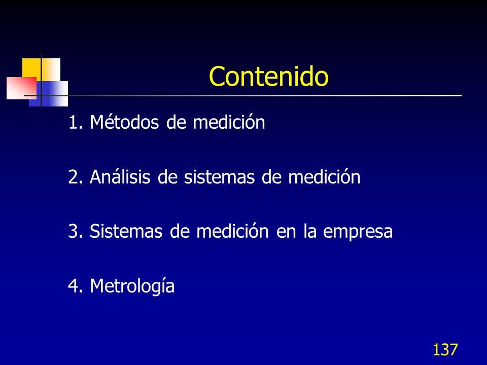 Contenido 1. Métodos de medición 2. Análisis de sistemas de medición