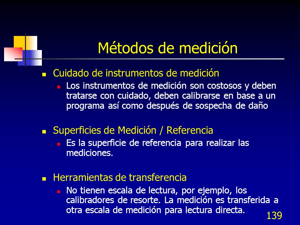 Métodos de medición Cuidado de instrumentos de medición