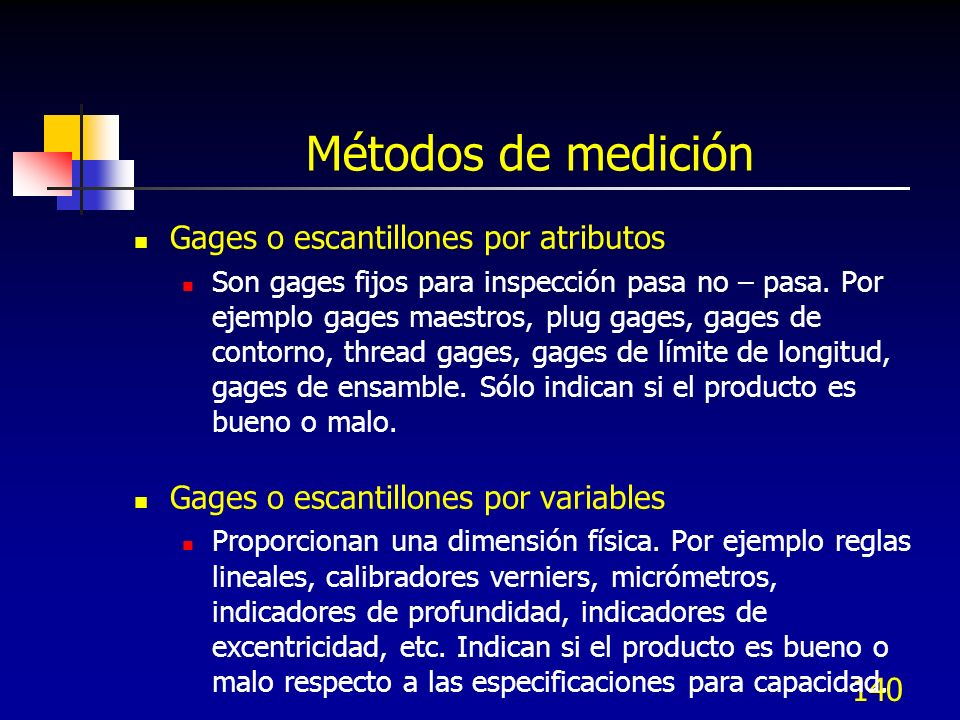 Métodos de medición Gages o escantillones por atributos