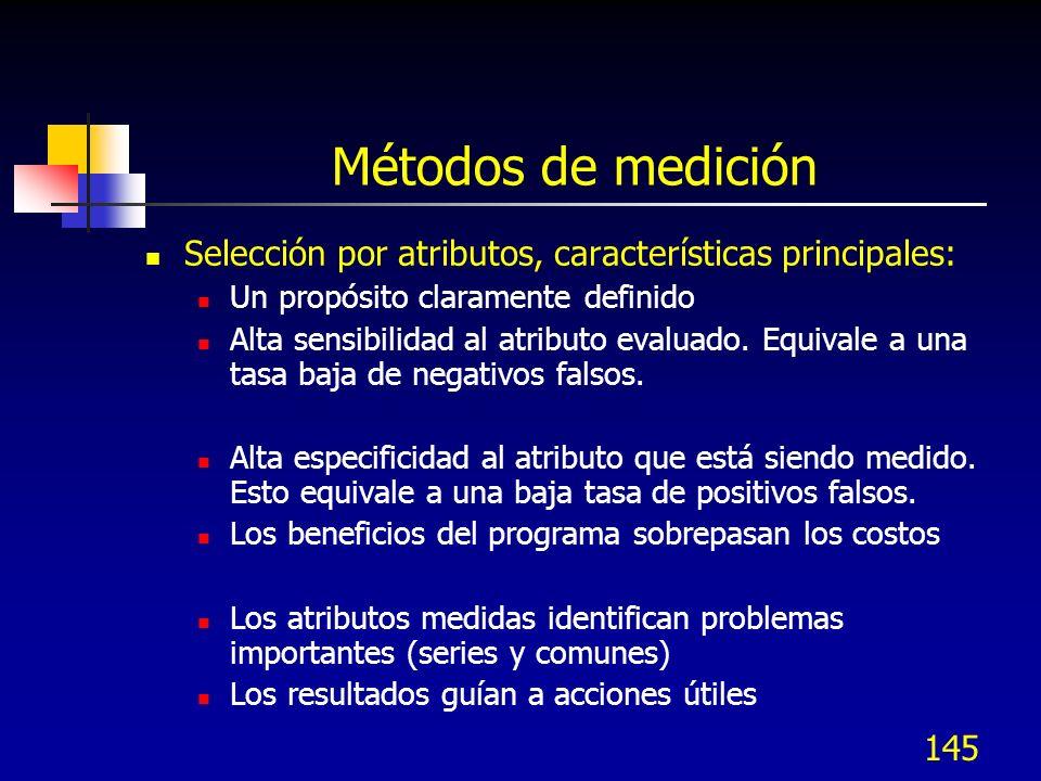 Métodos de medición Selección por atributos, características principales: Un propósito claramente definido.