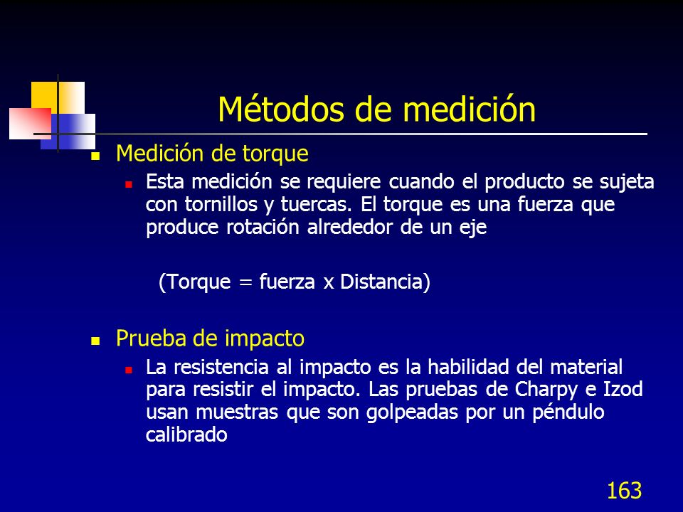Métodos de medición Medición de torque Prueba de impacto