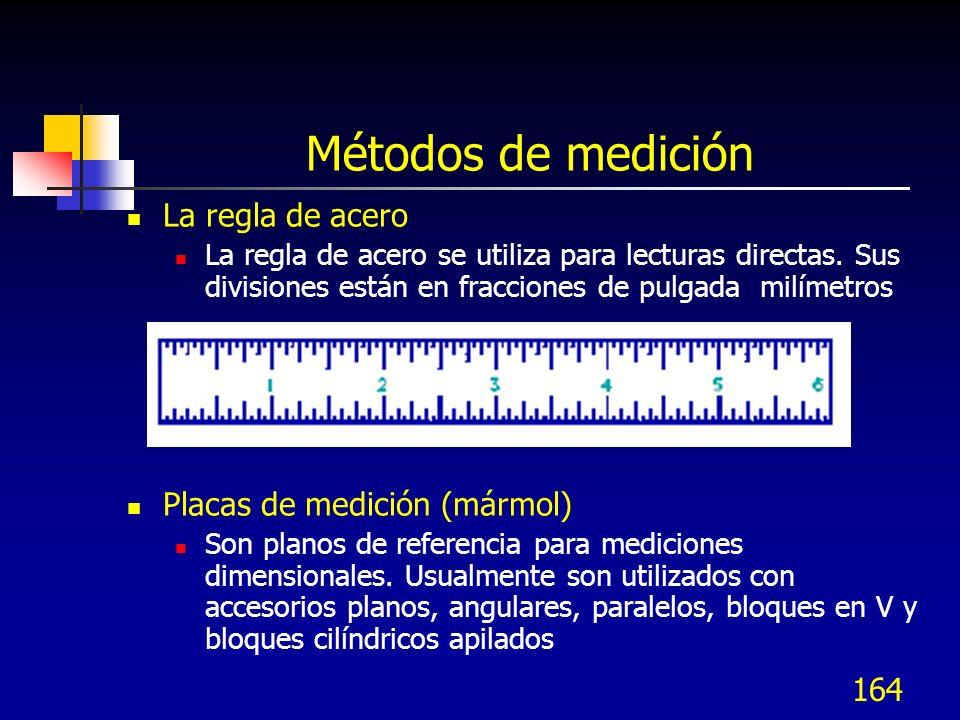 Métodos de medición La regla de acero Placas de medición (mármol)