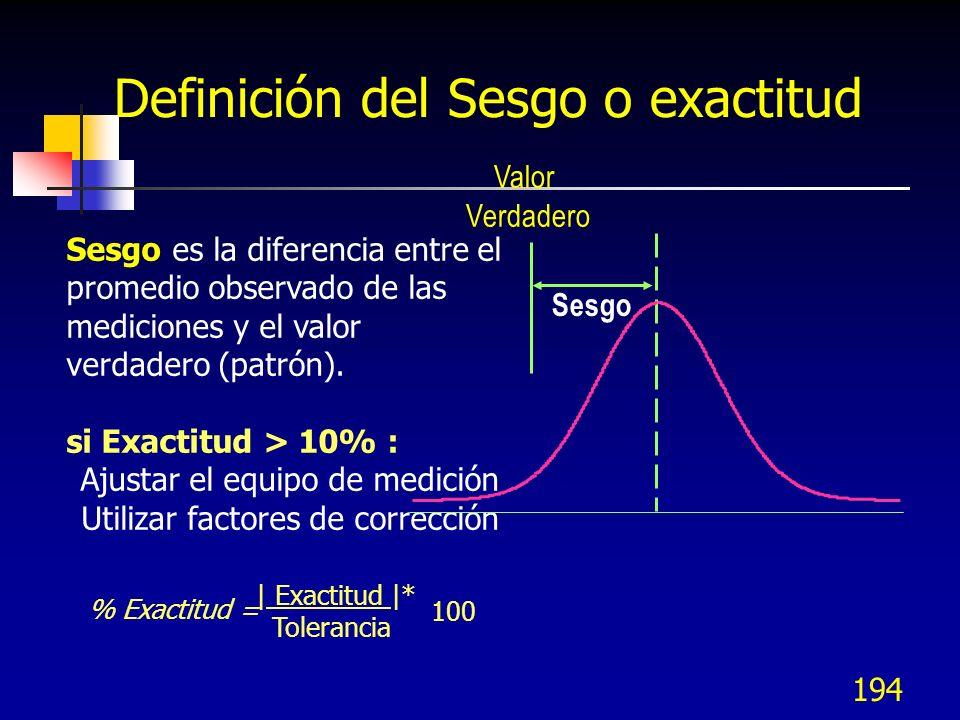 Definición del Sesgo o exactitud