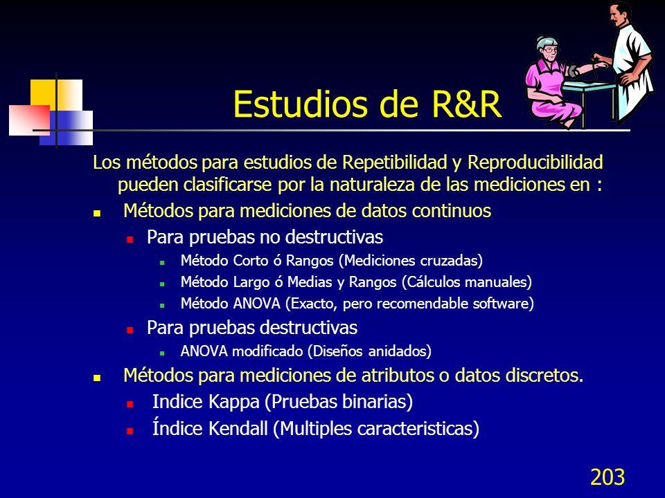 Estudios de R&R Los métodos para estudios de Repetibilidad y Reproducibilidad pueden clasificarse por la naturaleza de las mediciones en :